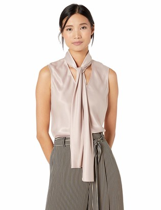 Nine West Women's Sleeveless V Charmeuse Blouse with Neck TIE Detail
