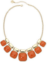 Liz Claiborne Orange Square Stone Gold-Tone Collar Necklace