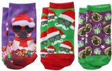 Pink Cookie Girls 4-16 3-pk. Pug With Ornaments Holiday Low-Cut Socks