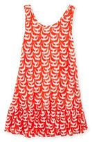 Milly Minis Sailboat Ruffle Coverup Dress, Red/White, Size 4-7