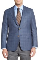 Hickey Freeman Blue Plaid Two Button Notch Lapel Wool Classic Fit Blazer
