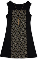 Amy Byer Metallic-Inset Shift Dress & Necklace Set, Big Girls (7-16)