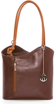 Brown Zip-Accent Leather Tote