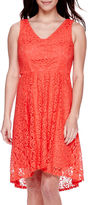 Donna Ricco DR Collection Sleeveless Lace High-Low Fit-and-Flare Dress - Petite