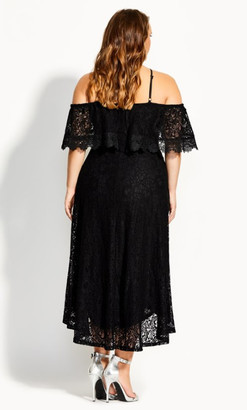 City Chic Enticing Lace Dress - black