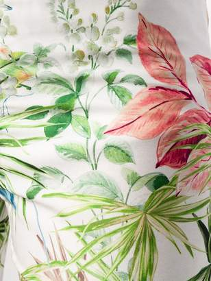 Black Coral tropical leaf trousers