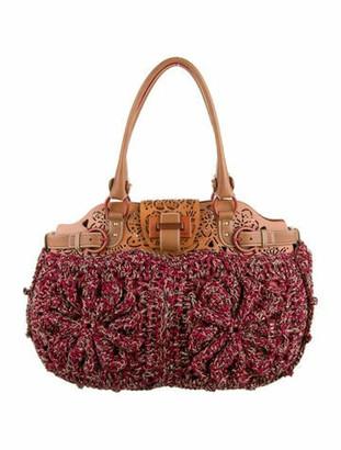 Salvatore Ferragamo Laser-Cut Leather-Trimmed Crochet Shoulder Bag Red