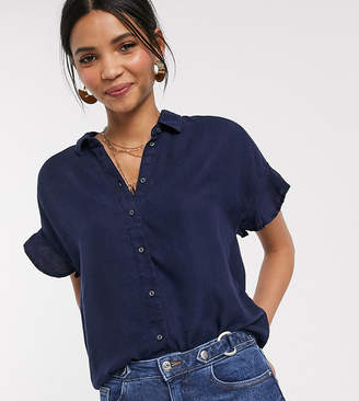 Esprit frill sleeve denim look shirt in blue-Navy