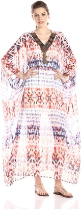 Glamorous Women's Abstract Tribal Print Kaftan with Embellishments