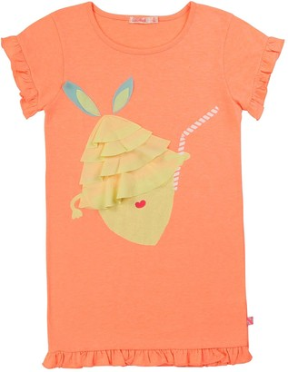 Billieblush Girls Lemon Applique Short Sleeve T-Shirt Dress - Peach