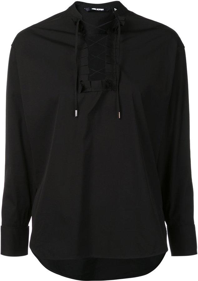 Neil Barrett lace-up shirt