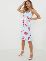 Quiz Fuchsia Print Strappy Frill Midi Dress - Pale Blue