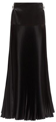 Alexandre Vauthier Crystal-buckle Silk-blend Pleated Maxi Skirt - Womens - Black