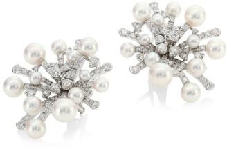 Mikimoto Splash Diamond, 6.5MM Pearl & 18K White Gold Earrings