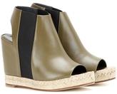 Balenciaga Rope Leather Peep-toe Wedge Sandals