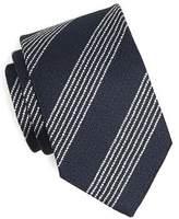Drakes Drake's Textured Silk Stripe Tie in Navy