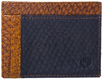 Mayu Rio Fish Leather Card Wallet Cogna and Ultramarine