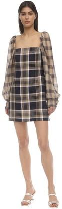 Rokh Puff Sleeve Techno Twill Mini Dress