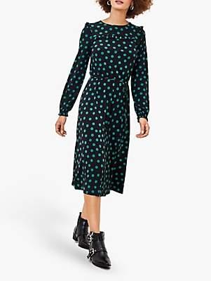Oasis Spot Print Ruffle Midi Dress, Black/Multi