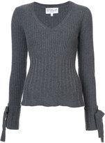 Derek Lam 10 Crosby V-Neck Sweater With Sleeve Tie Detail