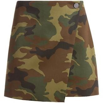 Alice + Olivia Jeans Renna Button Wrap Mini Skirt