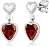 Gem Stone King 1.80 Ct Heart Shape Garnet 925 Sterling Silver Earrings