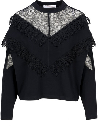 See by Chloe Lace Trim Pullover