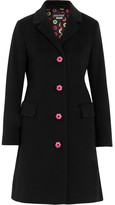 Moschino Embroidered Wool And Cashmere-blend Coat - Black