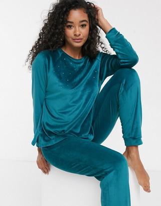 Women'secret velour pearl detail loungewear set in green
