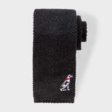 Paul Smith Men's Slate Grey Embroidered 'Dalmatian' Knitted Tie