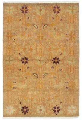 Alegria Canora Grey One-of-a-Kind Hand-Knotted 4' x 6' Wool Brown/Light Green Area Rug Canora Grey