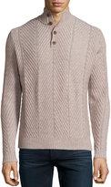 Neiman Marcus Cashmere Chevron-Knit Pullover Sweater, Sand