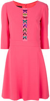 Moschino bow embroidered flared dress