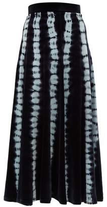 Proenza Schouler Tie-dye Velvet Midi Skirt - Womens - Blue Multi