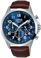 Lorus Rt379fx9 Chronograph Date Leather Strap Watch, Maroon/blue