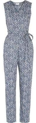 Miguelina Alexa Floral-print Cotton-voile Wrap Jumpsuit
