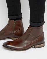 Asos Chelsea Boots In Brown Leather With Natural Sole And Zip Detail
