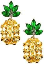 Eye Candy Los Angeles Women's Petite Pineapple Rhinestone Earrings
