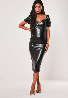 Missguided Black Faux Leather Sweetheart Midi Dress