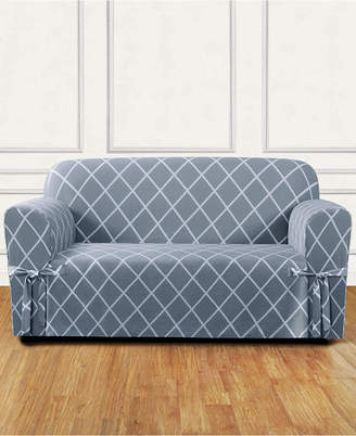 Sure Fit Lattice One-Piece Straight Skirt with Cord Loveseat Slipcover