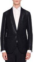Lanvin Sequin Shawl-Collar Evening Jacket, Black
