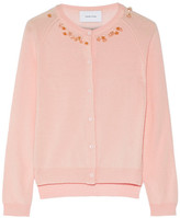 Simone Rocha Embellished Merino Wool, Silk And Cashmere-blend Cardigan - Pastel pink