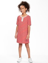 Old Navy Lace-Up Nautical-Stripe Tee Dress for Girls