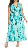 London Times Plus Size Women's Ikat Print Faux Wrap Maxi Dress