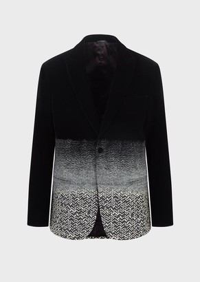 Giorgio Armani Half Canvas And Chevron Velvet Tuxedo Jacket From The Soho Collection