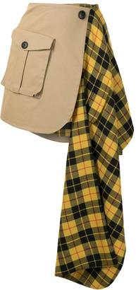 Monse Tartan-Panelled Cargo Skirt