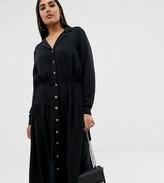 Asos DESIGN Curve button through midi shirt dress with long sleeves