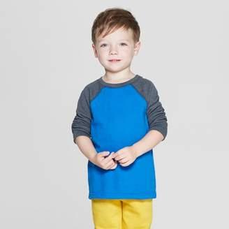 Cat & Jack Toddler Boys' Thermal Raglan Long Sleeve T-Shirt Blue 12M