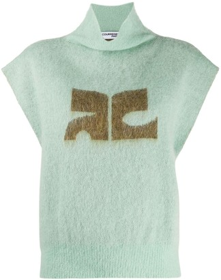 Courreges High-Neck Logo Sweater Vest