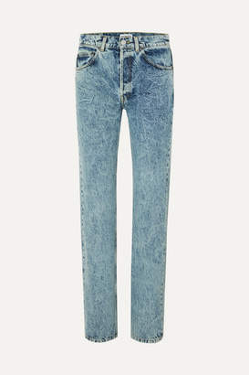 Balenciaga Faded High-rise Straight-leg Jeans - Light blue